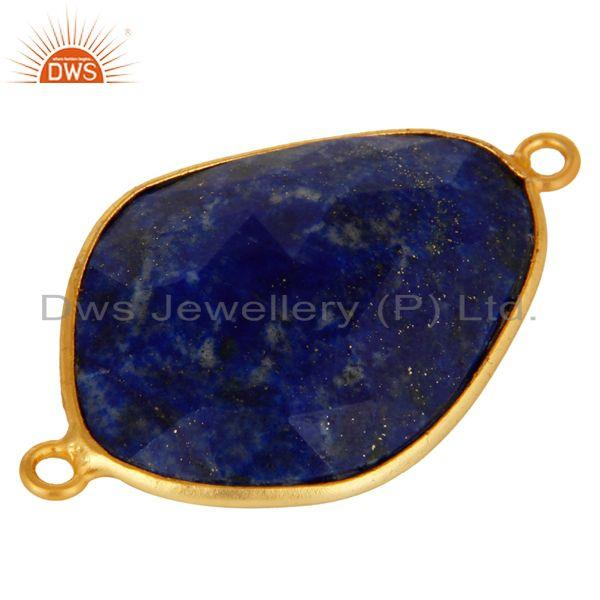 Exporter 18K Yellow Gold Plated Sterling Silver Lapis Lazuli Gemstone Connector