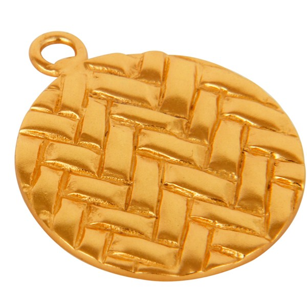 Exporter 14K Yellow Gold Plated Brass Hammered Finding Charms Jewelry