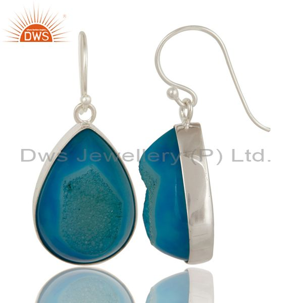 Exporter Natural Blue Druzy Agate Sterling Silver Bezel-Set Drop Earrings For Women