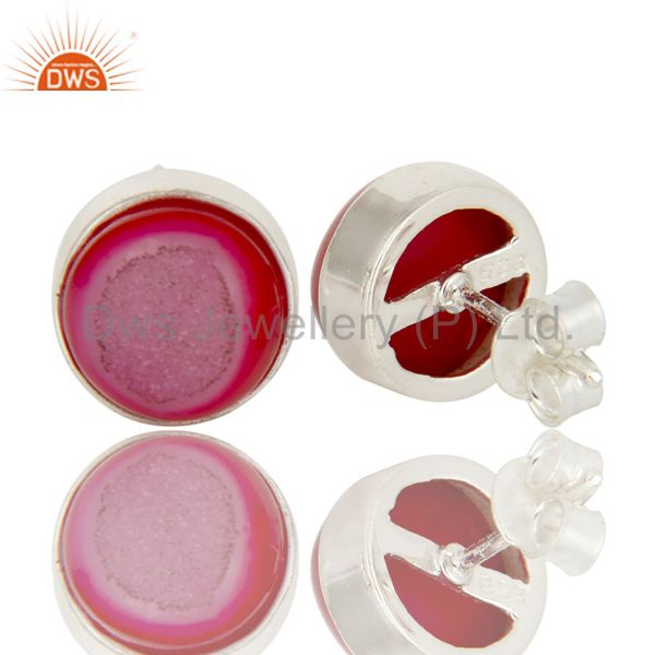 Exporter 925 Sterling Silver Natural Pink Agate Druzy Bezel-Set Stud Earrings For Women