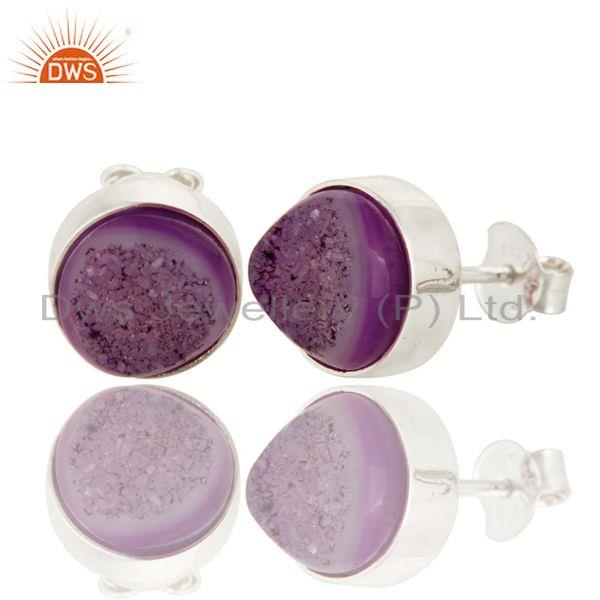 Exporter Natural Purple Druzy Agate Stud Earrings In Sterling Silver