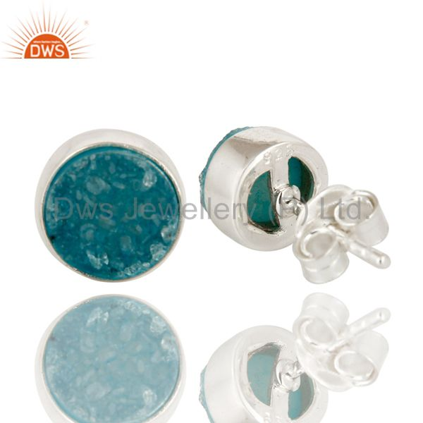 Exporter Natural Blue Druzy Agate Sterling Silver Womens Stud Earrings