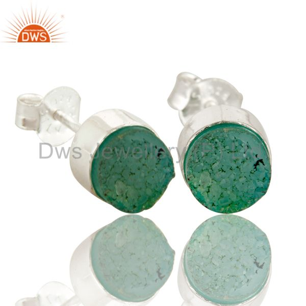 Exporter Natural Green Druzy Agate Sterling Silver Stud Earrings