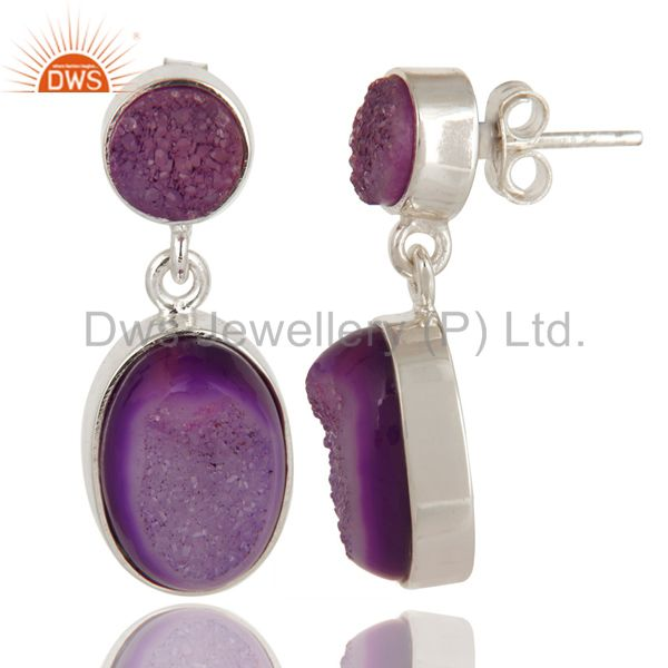 Exporter Purple Druzy Agate Solid Sterling Silver Dangle Earrings
