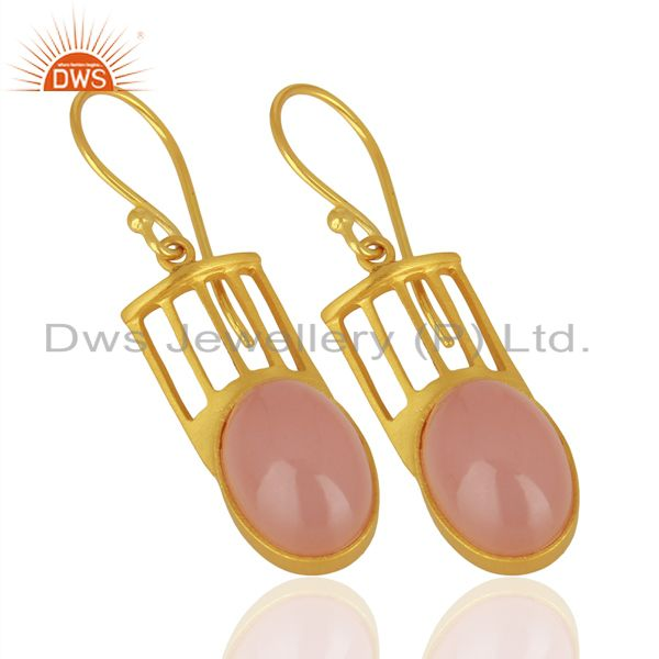 Suppliers Natural Rose Quartz Gemstone Designer Earrings - Yellow Gold Plated