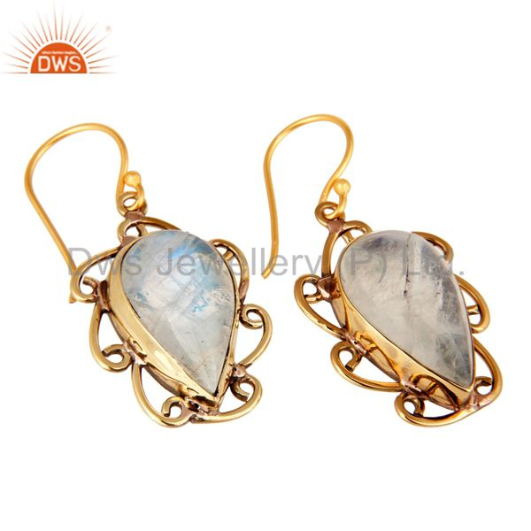 Exporter Handmade Rainbow Moonstone Designer Earrings Made In 18K Gold On Brass