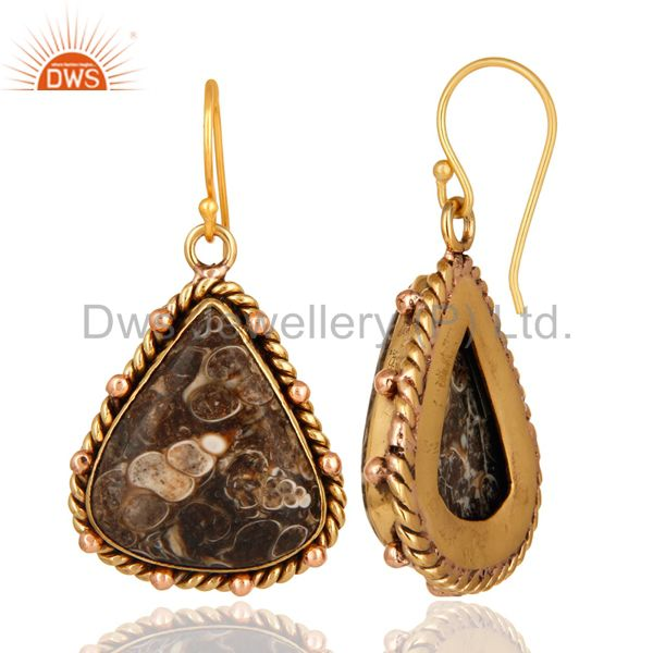 Exporter Natural Turritella Agate Gemstone Drop Earrings - Yellow Gold Plated