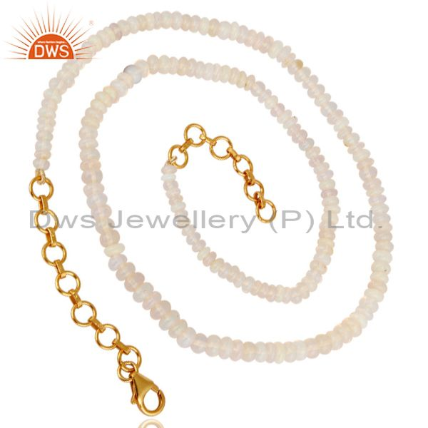 Exporter Natural Fire Opal Gemstone Beads 18K Gold Plated Sterling Silver Necklace