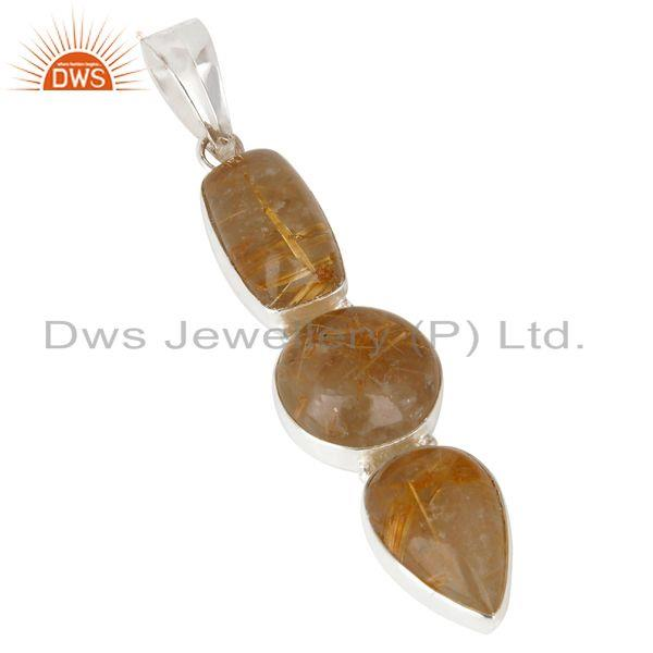 Exporter Natural Rutilated Quartz Gemstone Handmade 925 Sterling Silver Pendant Jewelry