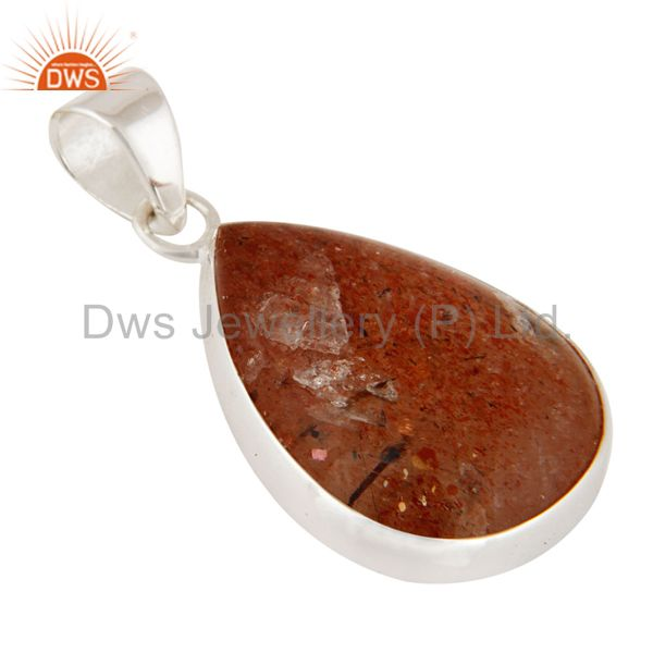 Exporter Natural Sunstone Gemstone Pendant Handcrafted 925 Sterling Silver Jewelry