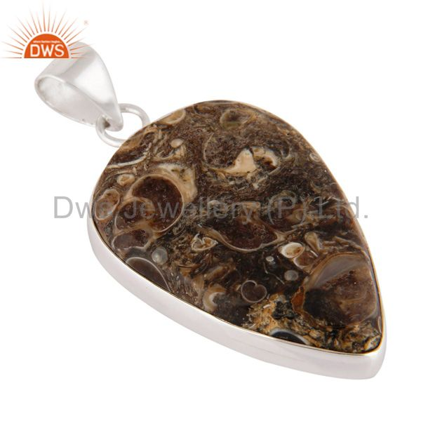 Wholesale Handmade Natural Turritella Agate Gemstone 925 Sterling Solid Silver Pendant