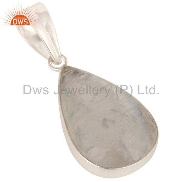 Exporter 925 Solid Sterling Silver Natural Rainbow Moonstone Bezel Set Pendant