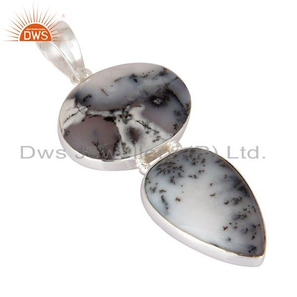 Exporter Natural Dendritic Opal Gemstone Solid 925 Sterling Silver Handmade Pendant