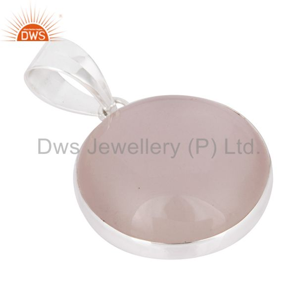 Wholesale Handmade Natural Rose Quartz Gemstone Pendant 925 Sterling Solid Silver Jewelry