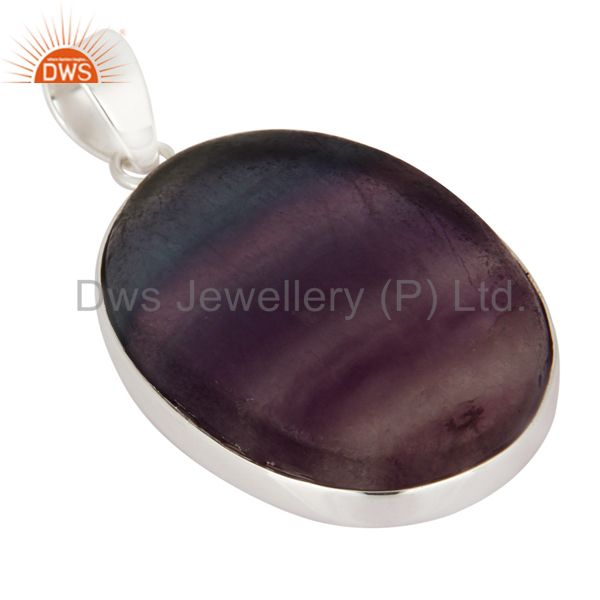 Exporter Handmade Natural Rainbow Fluorite Gemstone 925 Solid Sterling Silver Pendant