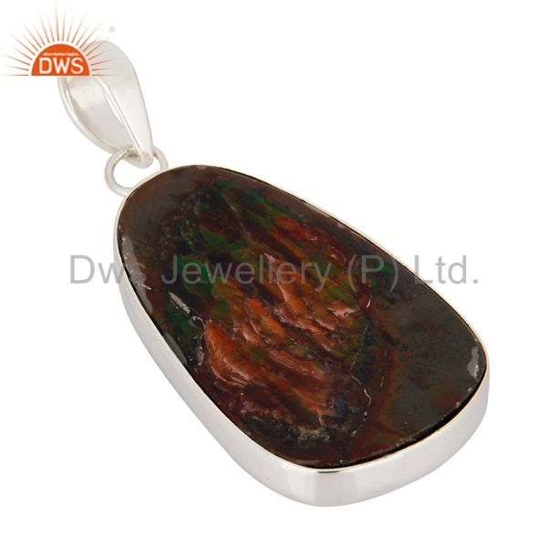 Manufacturer of Natural Ammolite Gemstone Pendant Handcrafted In Solid Sterling Silver Jewelry