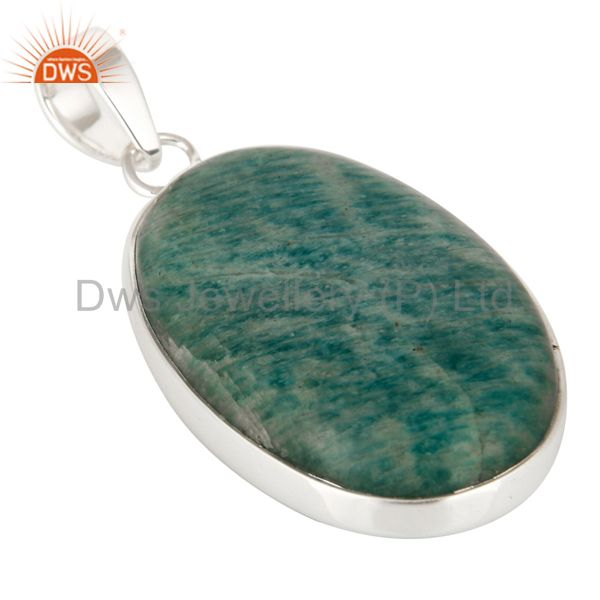 Exporter Natural Amazonite Gemstone Solid 925 Sterling Silver Handmade Pendant