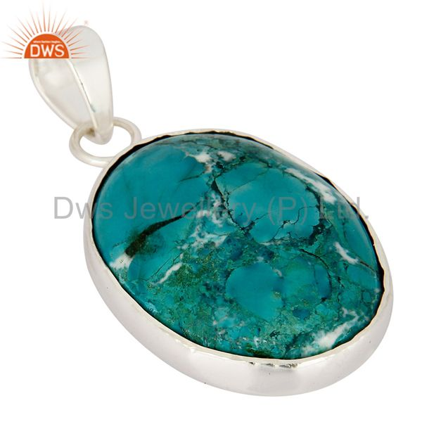 Exporter Solid Sterling Silver Genuine Turquoise Semi-Precious Stone Bezel-Set Pendant