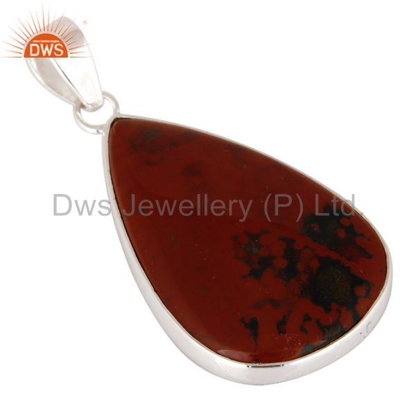 Exporter Artisan Made Natural Bloodstone Gemstone Sterling Silver Pendant - Fine Jewelry