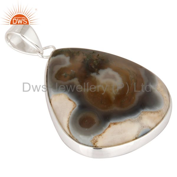 Exporter Handmade Bezel Set Ice Solar Quartz Gemstone Genuine 925 Sterling Silver Pendant