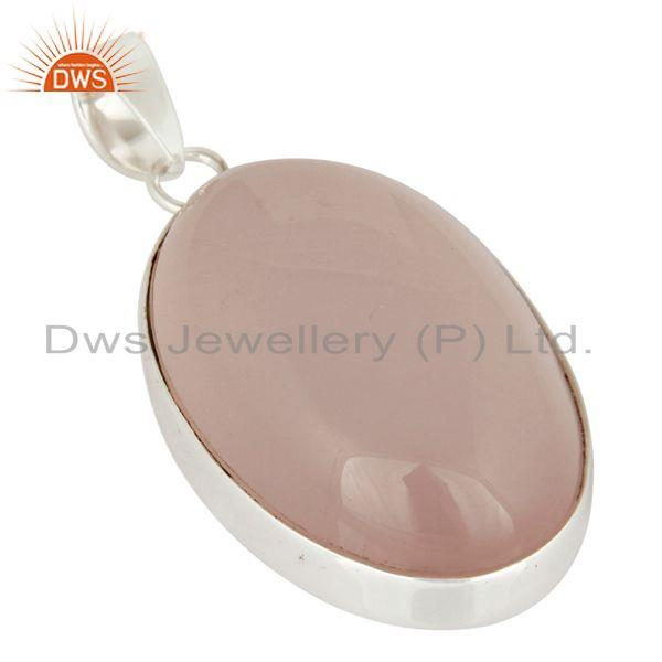 Exporter Natural Rose Quartz Gemstone Bezel-Set Solid Sterling Silver Pendant