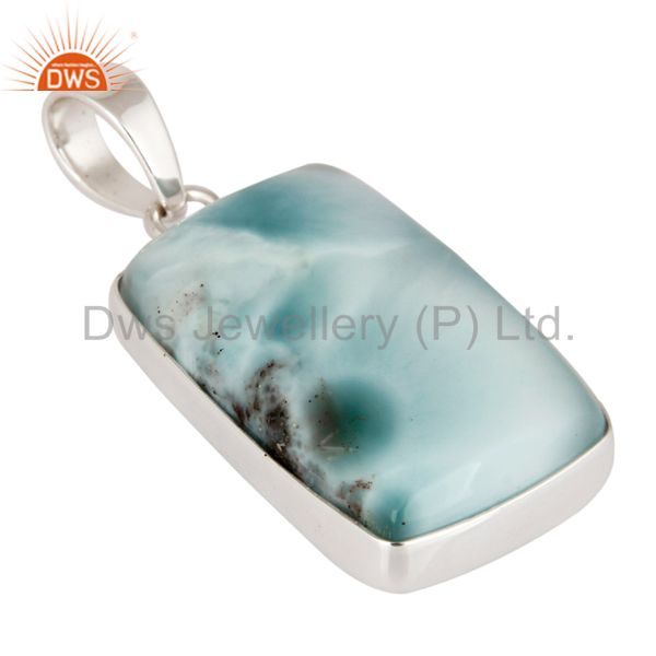 Exporter Natural Larimar Gemstone Pendant Solid 925 Sterling Silver Handmade Jewelry