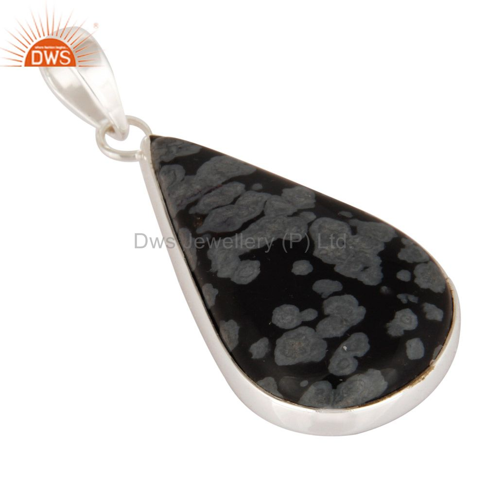 Manufacturer of Solid 925 Sterling Silver Snowflake Obsidian Fine Gemstone Pendant Jewelry