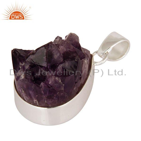 Exporter Handcrafted Natural Amethyst Druzy Geode Slice Pendant Made In Sterling Silver