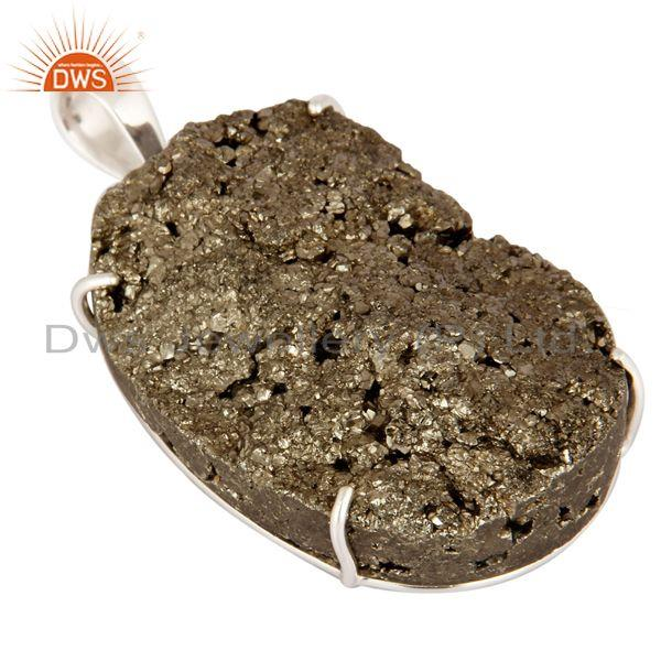 Exporter Handcrafted Solid 925 Sterling Silver Prong Setting Druzy Pyrite Pendant