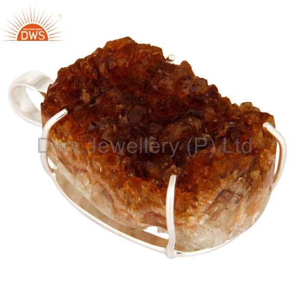 Exporter Natural Citrine Druzy Prong Setting Genuine Sterling Silver Handmade Pendant