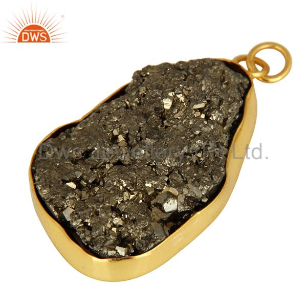 Exporter Gold Plated Sterling Silver Pyrite Druzy Pendant - Handmade Designer Jewelry