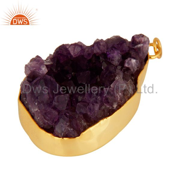 Exporter Handcrafted Sterling Silver Amethyst Drusy Pendant With Gold Plated Jewelry
