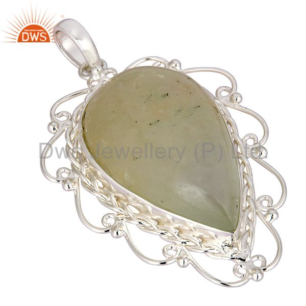 Exporter Handcrafted Natural Prehnite Gemstone Solid 925 Sterling Silver Pendant
