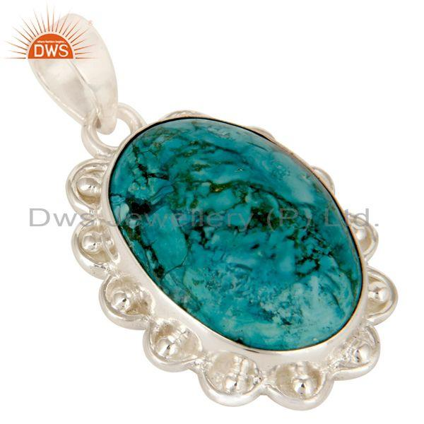 Exporter Handmade Turquoise Gemstone Solid Sterling Silver Pendant Jewelry