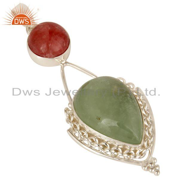 Exporter Handmade Natural Prehnite And Rhodochrosite Sterling Silver Gemstone Pendant