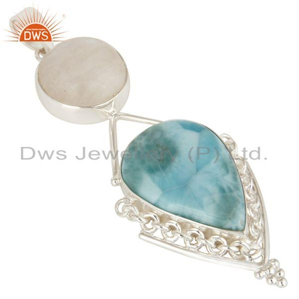 Exporter Natural Rainbow Moonstone And Larimar Solid Sterling Silver Pendant