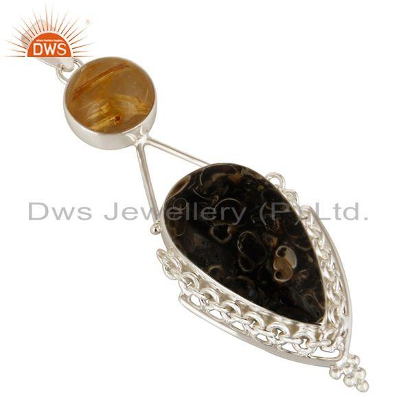 Exporter Rutilated Quartz And Turritella Agate Pendant In Solid Sterling Silver