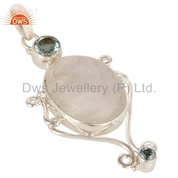 Exporter Handmade Rainbow Moonstone And Blue Topaz Pendant Made In Sterling Silver