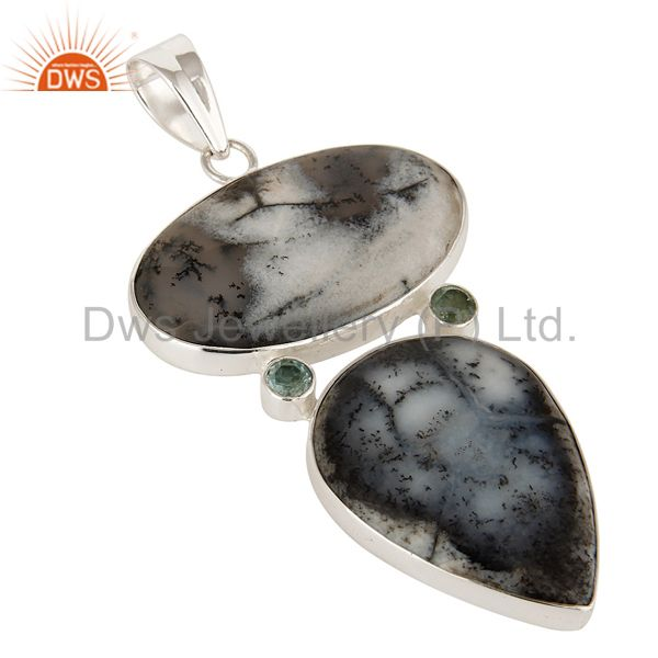 Exporter Handmade Dendritic Opal And Blue Topaz Pendant Made In Solid Sterling Silver