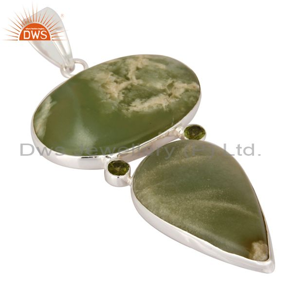 Exporter Natural Prehnite And Peridot 925 Sterling Silver Pendant - Fine Jewelry