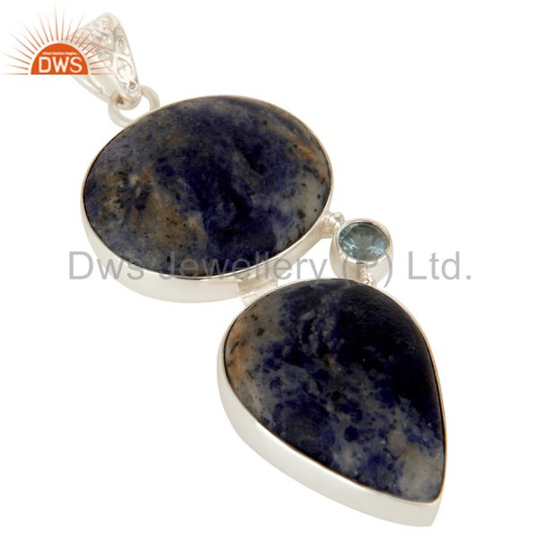 Exporter Natural Sodalite And Blue Topaz Gemstone Pendant Made In Solid Sterling Silver