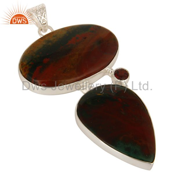 Exporter 925 Sterling Silver Natural Blood Stone Bezel Set Pendant With Garnet