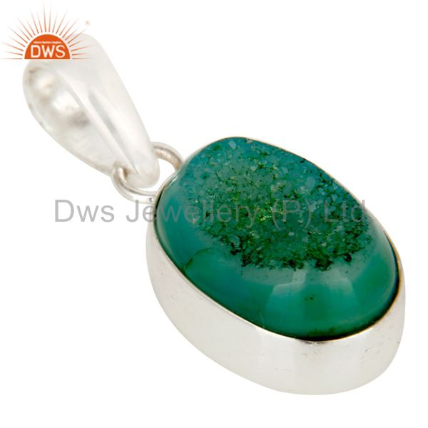 Exporter Genuine 925 Sterling Silver Natural Green Druzy Agate Bezel Setting Pendant