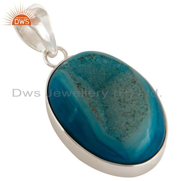 Exporter Natural Blue Druzy Agate Bezel Setting Pendant Made In Solid Sterling Silver