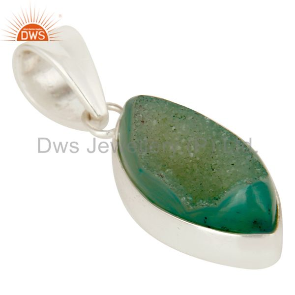Exporter Light Green Druzy Agate Gemstone Genuine Sterling Silver Bezel Set Pendant