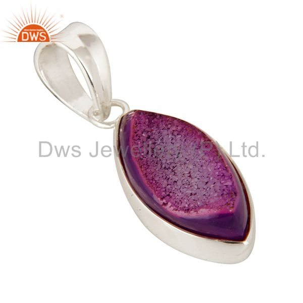 Exporter Handmade Solid Sterling Silver Pink Druzy Agate Marquise Pendant