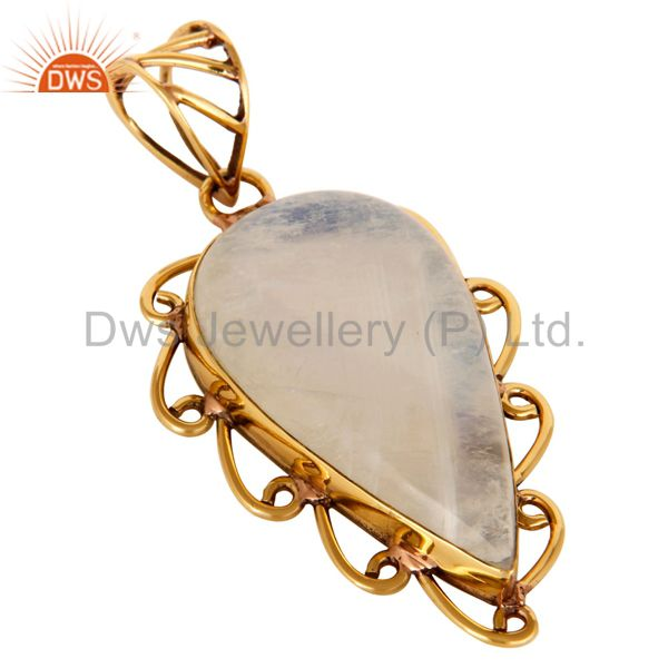 Exporter Natural Rainbow Moonstone Gemstone Designer Pendant - Yellow Gold Plated