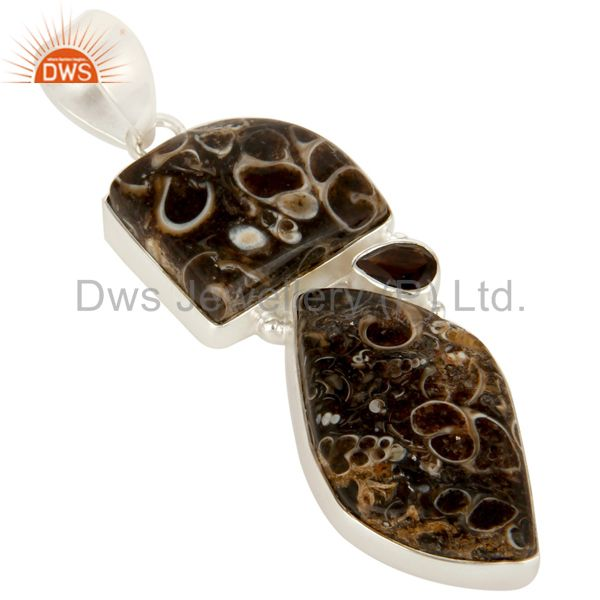 Exporter Handmade Turritella Agate And Smoky Quartz Sterling Silver Gemstone Pendant