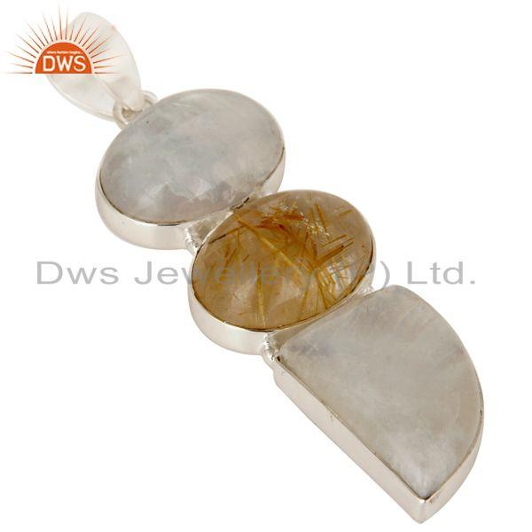 Exporter Golden Rutilated Quartz And Rainbow Moonstone Pendant Made In Sterling Silver