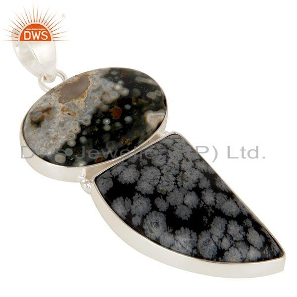 Exporter Natural Ocean Jasper And Snowflake Obsidian Solid 925 Sterling Silver Pendant